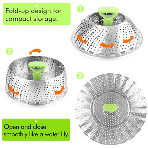 Steamer Basket Stainless Steel Vegetable Steamer Basket Folding Steamer Insert for Veggie Fish Seafood Cooking, Expandable to Fit Various Size Pot (7.1