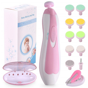 Baby Nail File Electric Nail Trimmer Manicure Set with Nail Clippers, Toes Fingernails Care Trim Polish Grooming Kit Safe for Infant Toddler Kids or Women, LED Light and 10 Grinding Heads, Pink/White by Consevisen