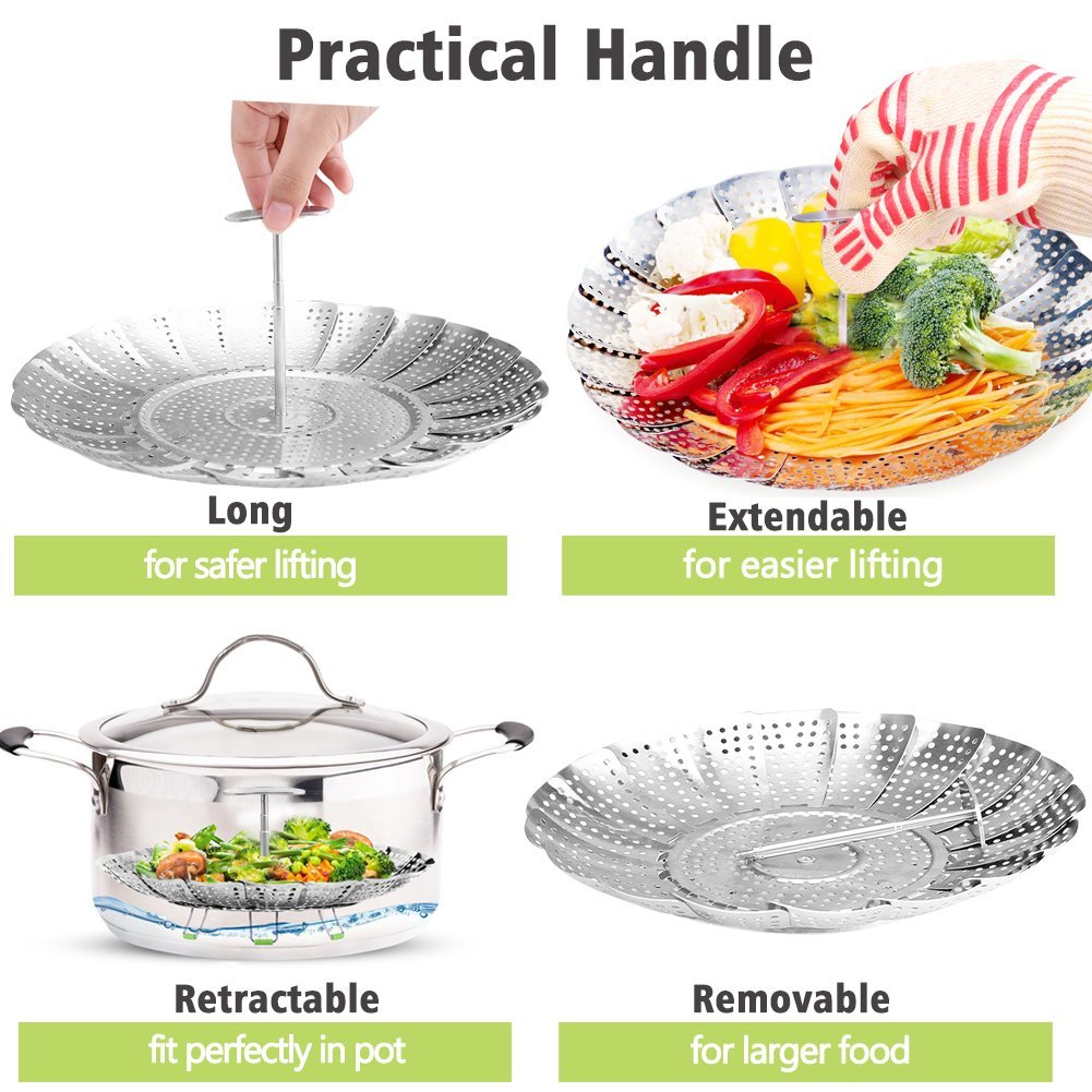 Vegetable Steamer Basket Stainless Steel Veggie Steamer Insert for Pressure Cooker and Various Pots, Extendable Handle, Foldable Legs, Silicone Feet(19.99-11.80)