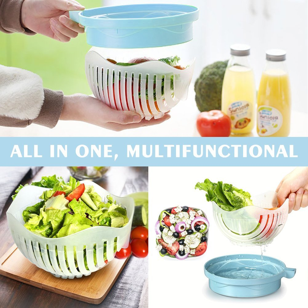 Salad Cutter Bowl 60 Seconds Salad Maker, Salad Slicer Chopper Fruit Vegetable Strainer, Food Grade, Multi-use
