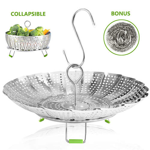 Vegetable Steamer Basket Stainless Steel Collapsible Steamer Insert for Steaming Veggie Food Seafood Cooking, Metal Handle Foldable Legs, Fit Various Pot Pressure Cooker (5.3