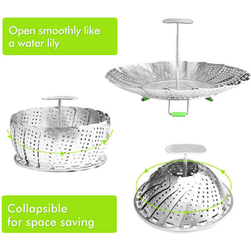 Vegetable Steamer Basket Stainless Steel Steamer Insert for Steaming Veggie Food Seafood Cooking, Metal Handle and Foldable Legs, Collapsible to Fit Various Pot Pressure Cooker, 5.3
