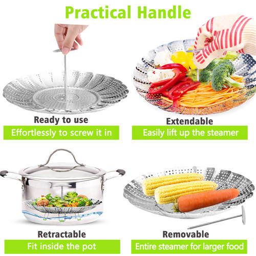 Vegetable Steamer Basket Stainless Steel Steamer Insert for Steaming Veggie Food Seafood Cooking, Metal Handle and Foldable Legs, Collapsible to Fit Various Pot Pressure Cooker, 7.1